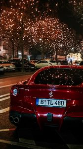 Preview wallpaper ferrari, rear view, red, night city, scenery