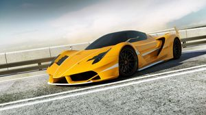 Preview wallpaper ferrari, render, f706 yellow, side view