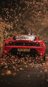 Preview wallpaper ferrari, scuderia, racing, red, rear view, autumn
