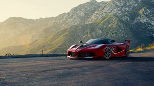 Preview wallpaper ferrari, supercar, sports car, red, mountains