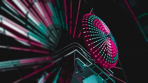 Preview wallpaper ferris wheel, backlight, colorful, illumination, dark