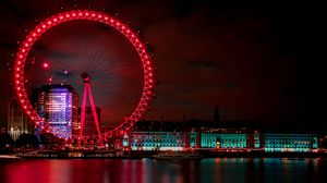 Preview wallpaper ferris wheel, night city, london, united kingdom