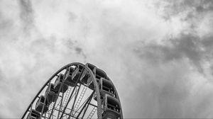 Preview wallpaper ferris wheel, sky, bw