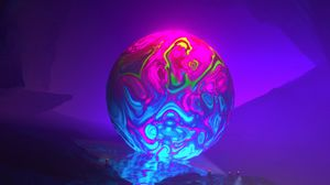 Preview wallpaper fiction, fantasy, ball, colorful, rocks, glow