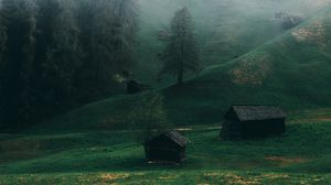 Preview wallpaper field, fog, ladinia, dolomites, italy