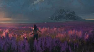 Preview wallpaper field, lavender, girl, art, freedom