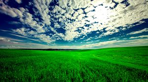 Preview wallpaper field, sky, grass, clouds, green, summer