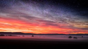 Preview wallpaper field, starry sky, fog, evening, landscape, autumn