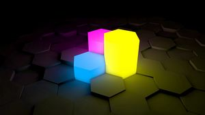 Preview wallpaper figurines, lights, neon, surface