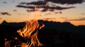 Preview wallpaper fire, bonfire, flame, night, blur