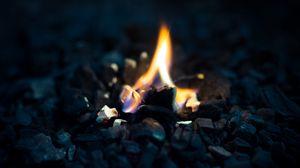 Preview wallpaper fire, flame, stones, macro, dark