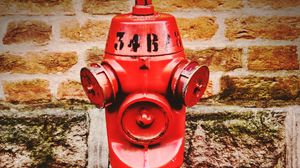 Preview wallpaper fire hydrant, brick wall, outdoor