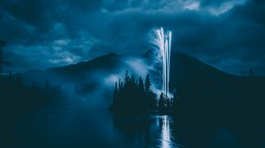 Preview wallpaper fireworks, salute, night, dark, smoke