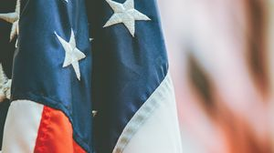 Preview wallpaper flag, america, symbolism, fabric, blur
