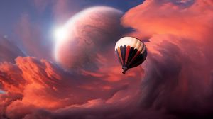 Preview wallpaper air balloon, sky, clouds, flight, moon