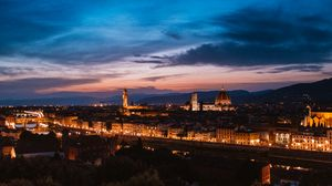 Preview wallpaper florence, italy, night city, top view