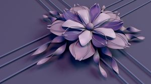 Preview Wallpaper Flower Rendering Petals Stamens Lines Stripes Lilac