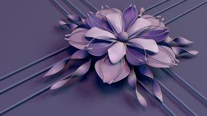 Preview wallpaper flower, rendering, petals, stamens, lines, stripes, lilac