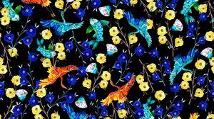 Preview wallpaper flowers, birds, fish, pattern, art