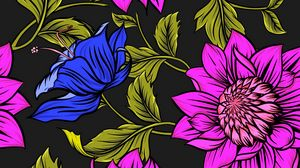 Preview wallpaper flowers, petals, leaves, patterns, bright, colorful