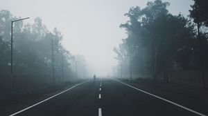 Preview wallpaper fog, road, trees, markup, horizon