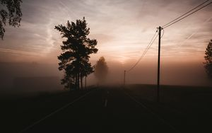 Preview wallpaper fog, road, trees, twilight, sky