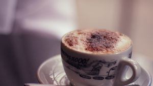 Preview wallpaper food, spirits, coffee, cocoa, cappuccino, milk, cup, mug, chocolate, plate, spoon, tableware, wallpaper, warm, hot, tasty