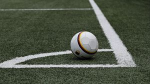 Preview wallpaper football, soccer ball, lawn, marking