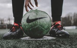 Preview wallpaper footballball, ball, football, football player, lawn