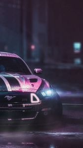 Preview wallpaper ford mustang gtr, ford, car, neon, night, wet