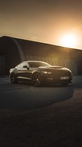 Preview wallpaper ford mustang, mustang, car, sports car, black, side view, sunset