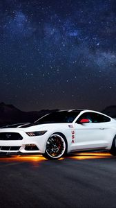 Charming ... Preview Wallpaper Ford, Mustang, White, Side View, Night