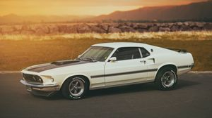 Preview wallpaper ford, white, mach 1, mustang
