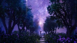 Preview wallpaper forest, starry sky, art, purple, fabulous