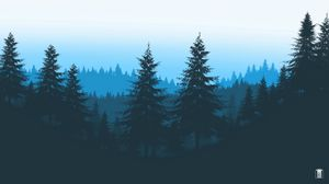 Preview wallpaper forest, trees, mountains, art, vector