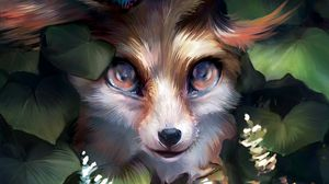 Preview wallpaper fox, cute, art, butterfly, leaves