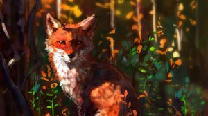 Preview wallpaper fox, glance, art, animal, wildlife
