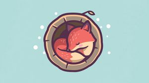 Preview wallpaper fox, hollow, sleep, art, vector