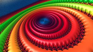 Preview wallpaper fractal, circles, patterns, multicolored, spiral, rotation