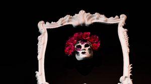 Preview wallpaper frame, mask, flowers, black