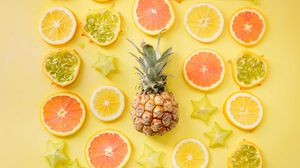 Preview wallpaper fruit, citrus, pineapple, yellow, lemon, orange