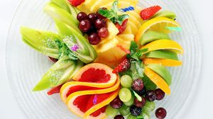 Preview wallpaper fruit, sliced, apples, pineapple, cherry, strawberry, lemon, grapefruit