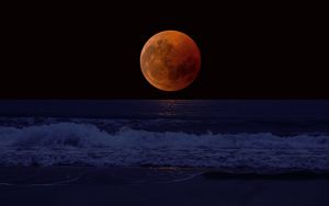 Preview wallpaper full moon, eclipse, sea, surf, horizon
