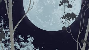 Preview wallpaper full moon, forest, vector, night