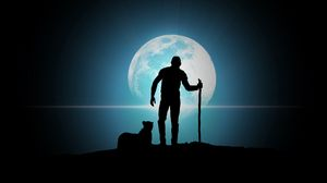 Preview wallpaper full moon, man, predator, moon, night, vector