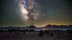 Preview wallpaper galaxy, night, starry sky, mountains
