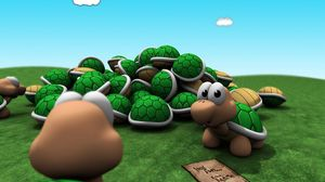 Preview wallpaper game, mario, turtle, grass, sky, bright