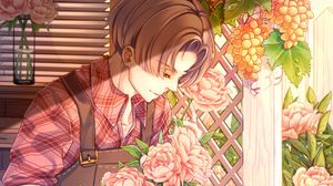 Preview wallpaper gardener, anime, guy, flowers