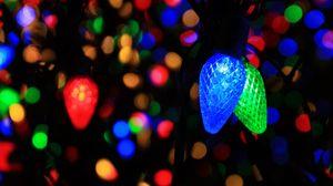 Preview wallpaper garland, light bulbs, colorful, dark, glow
