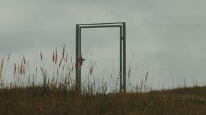 Preview wallpaper gate, fence, minimalism, sky, grass
